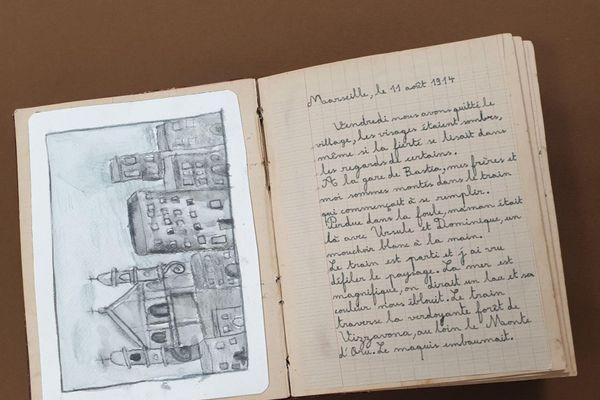 Page extraite du carnet fictif de Paul Marietti, imaginé par les élèves de CM2 de l'école U Principellu à Furiani.