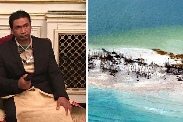 Ti Mano, le roi de Tikupia, île de l'océan pacifique en conférence dans les salons de l'Hôtel de Ville de Strasbourg.