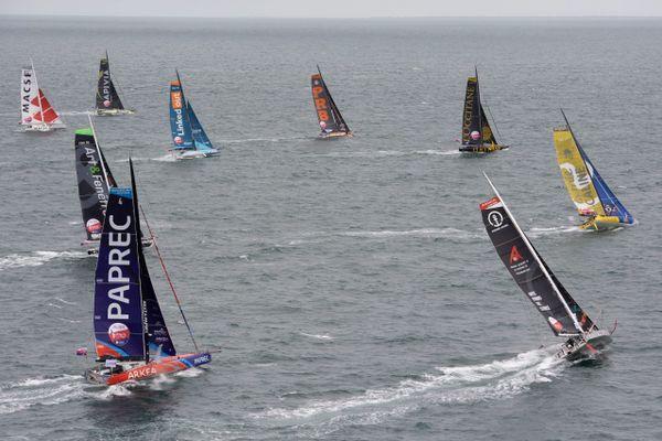 20 skippers de la classe IMOCA prennent le départ de la course à la voile Vendée Arctique Les Sables , ce samedi 4 Juillet 2020 au large des Sables