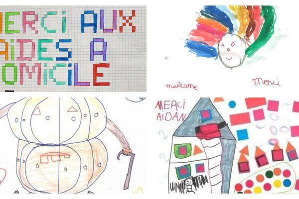 Premiers dessins d'enfants envoyés à l'ADMR 28 pour remercier les aides à domicile