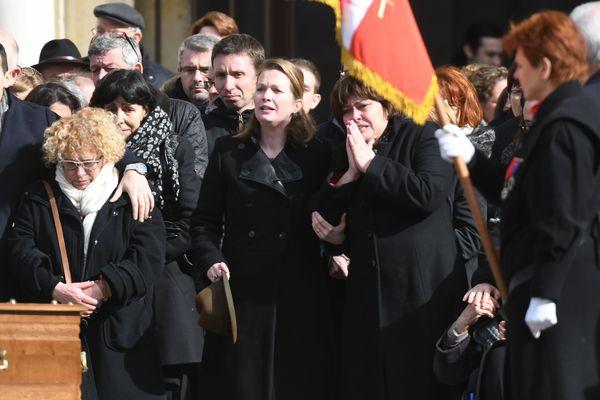 Funérailles de Xavier Beulin en la cathédrale d'Orléans. En présence de sa femme Laurence Beulin et de ses proches. 24 février 2017