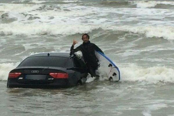 Une Audi a été découverte dans l'eau plage des Granges à Olonne-sur-Mer