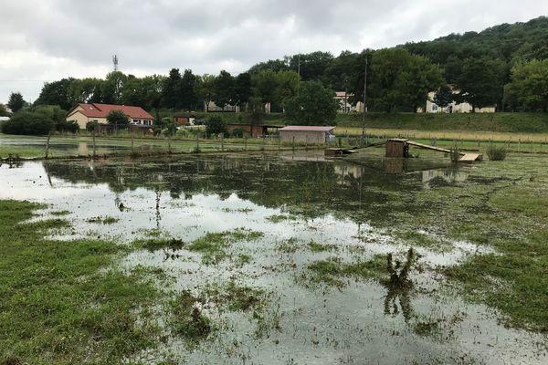 Des terrains inondés à Manois, en amont de Joinville, où le pic de crue était attendu ce samedi 17 juillet 2021.