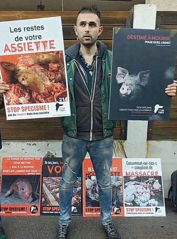 Un des militants de l'association anti-spéciste 269 life france, lors de la manifestation du samedi 23 novembre, à Montpellier.
