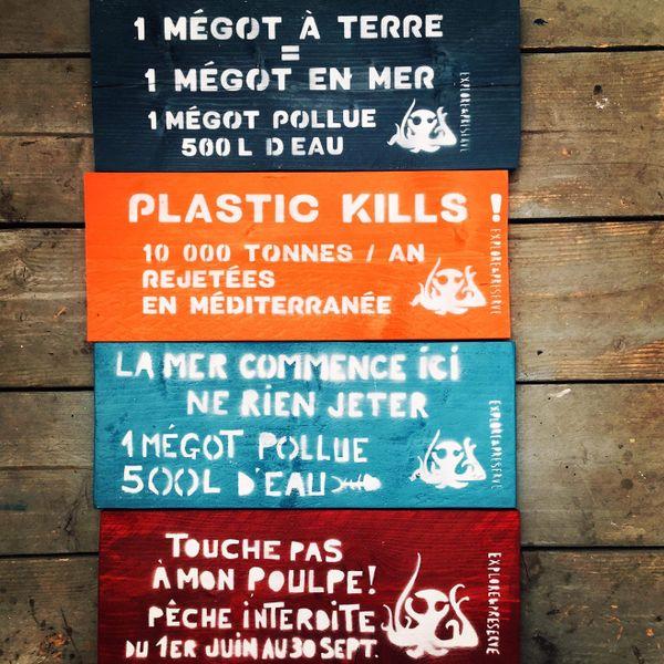 Quelques exemples de panneaux de sensibilisation à la protection de l'environnement