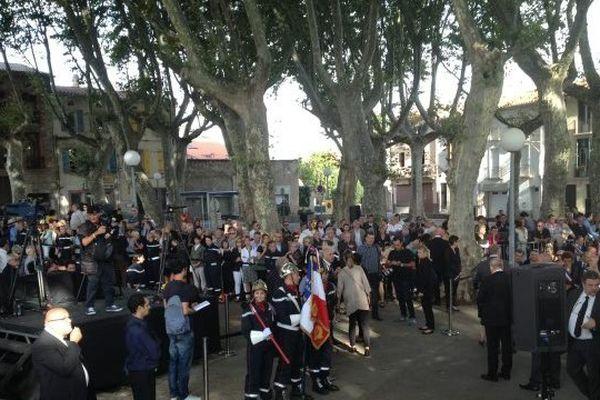 Millas (Pyrénées-Orientales) - 9h, les derniers préparatifs avant les obsèques de Christian Bourquin - 29 août 2014.