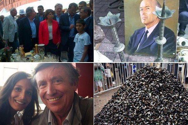 4 photos de la Braderie de Lille extraites de comptes Twitter ce samedi après-midi.
