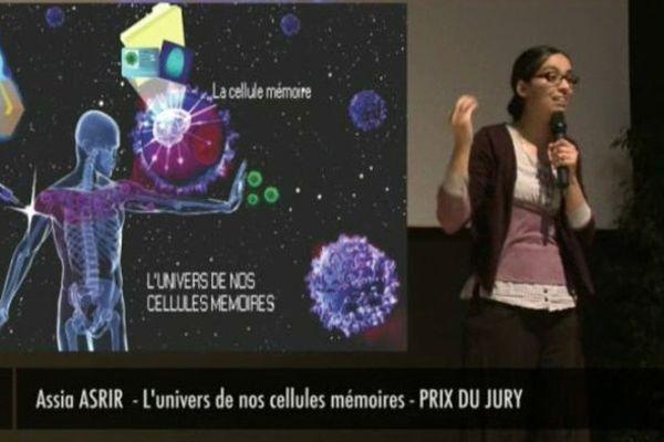 """Assia Asrir, lauréate du concours régional 2015 """"Ma thèse en 180 secondes"""""""