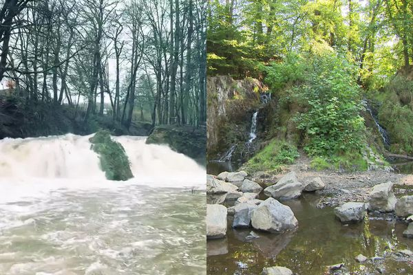 La cascade de Blangy en mars 2019 et en septembre 2020.