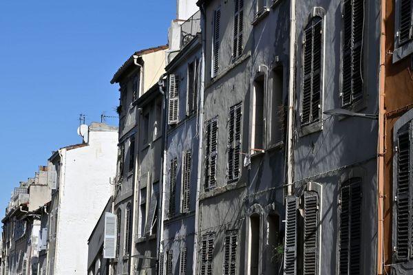 Des immeubles de la rue d'Aubagne à Marseille, où deux immeubles se sont effondrés le 5 novembre 2018.
