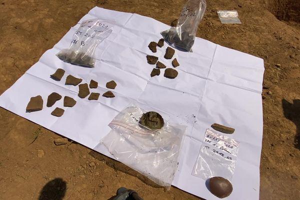 Objets retrouvés par les archéologues sur le site de la ZAC des Côteaux 2 à Woippy.