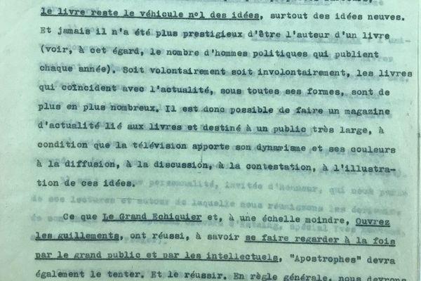 Le concept d'Apostrophes, écrit avant sa diffusion en 1975