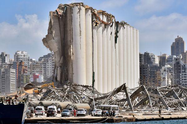 Les dégâts de l'explosion sur le port de Beyrouth.
