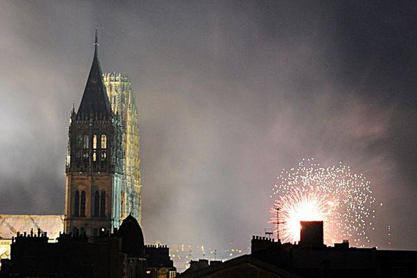 Le feu d'artifice de Rouen en 2010.
