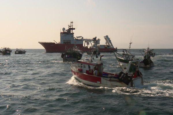 Manifestation des pêcheurs contre le projet d'éoliennes en mer