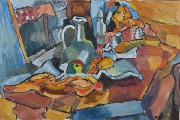 """""""Petit déjeuner"""" , Jacques Piquery.   """" Il aime la vie et il la peint sans cesse donc il peint ce qu'il voit, ce qui l'entoure, les gens , les fleurs, les fruits""""."""