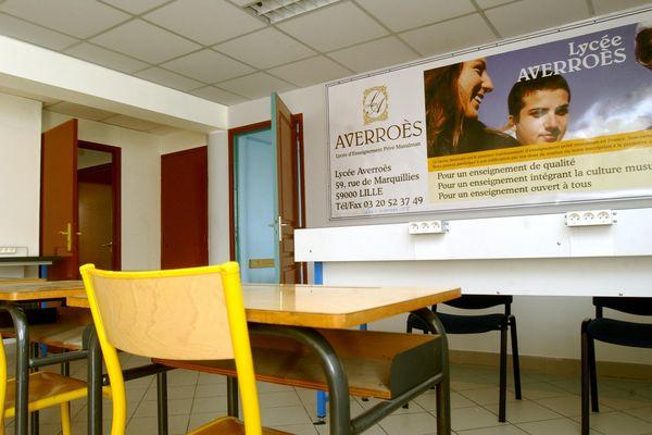 Une salle de classe du lycée Averroes à Lille.