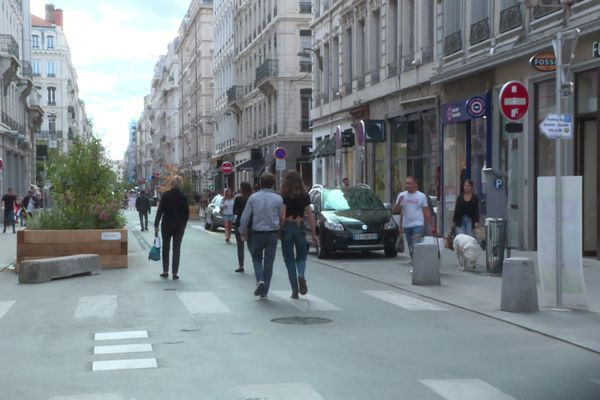 Lyon, rue du Président Herriot lors d'une expérimentation de piétonisation le 28 septembre 2019.