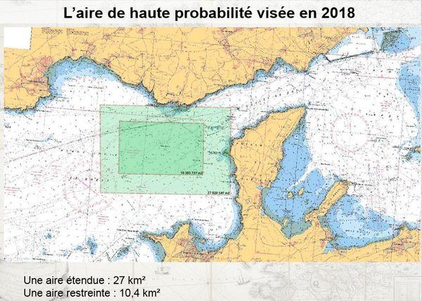 Recherche de la Cordelière : la carte marine de la zone de prospection