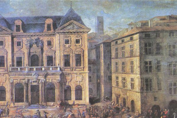 Vue de l'hôtel de ville pendant la peste à Marseille en 1720 par Michel Serre