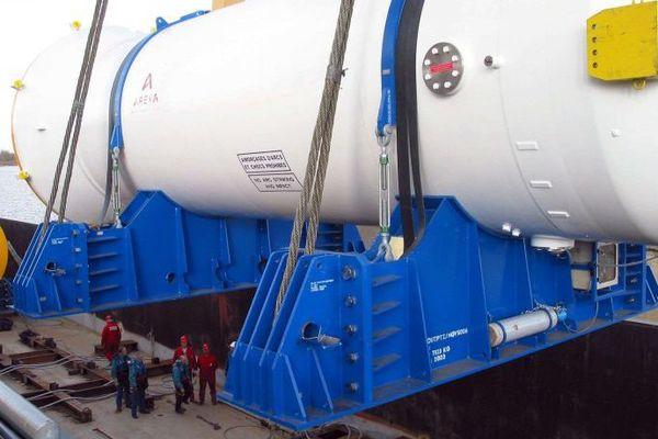 A Chalon-sur-Saône, l'embarquement de 2 générateurs de vapeur à destination des Etats-Unis