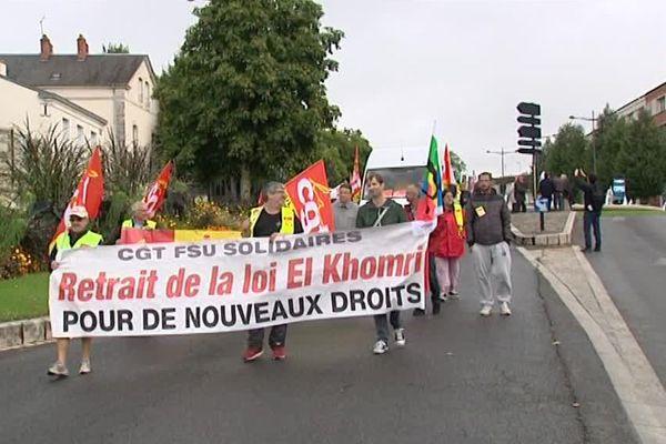 A Bourges, 300 manifestants se sont rassemblés en ce jour de grève nationale contre la loi travail, le 15 septembre 2016.