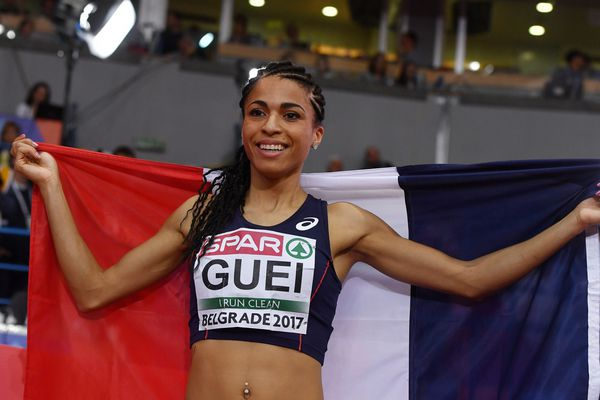 Floria Guei, le 4  mars 2017, à l'issue de sa victoire en finale des championnats d'Europe en salle