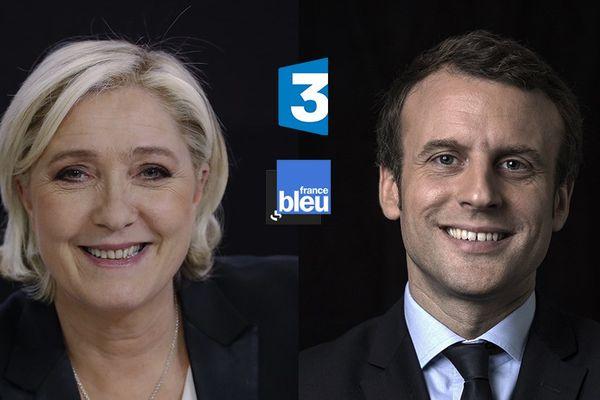 Interviews de Marine Le Pen et d'Emmanuel Macron sur France 3 et France Bleu