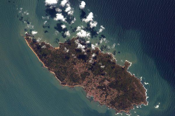 L'ile d'Yeu vue depuis l'espace par Thomas Pesquet