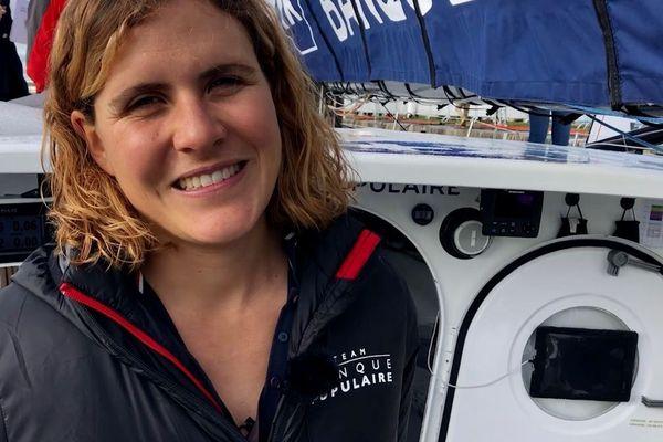 Clarisse Crémer, en pleine répétition de Vendée Globe lors de cette Transat Jacques Vabre 2019 sur Banque Populaire X.