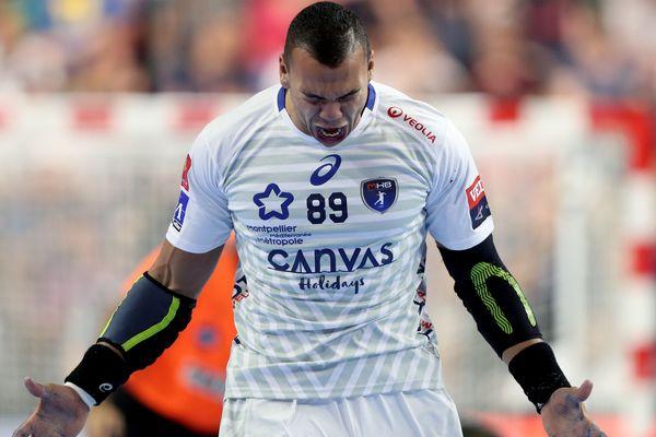 La joie du joueur de Montpellier Mohamed Mamdouh lors de la victoire du MHB face à Nantes en finale de Ligue des champions de handball - 27 mai 2018