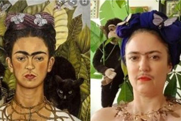 Frida Kahlo peinte par elle-même... et une reproduction assez fidèle de l'oeuvre.