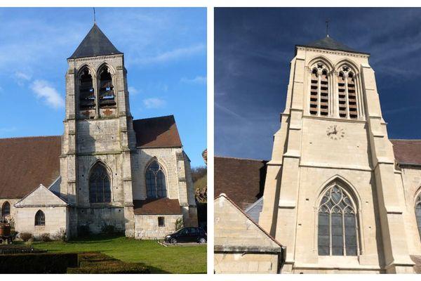Le clocher en 2016 (à gauche) et en 2018 (à droite) après la rénovation