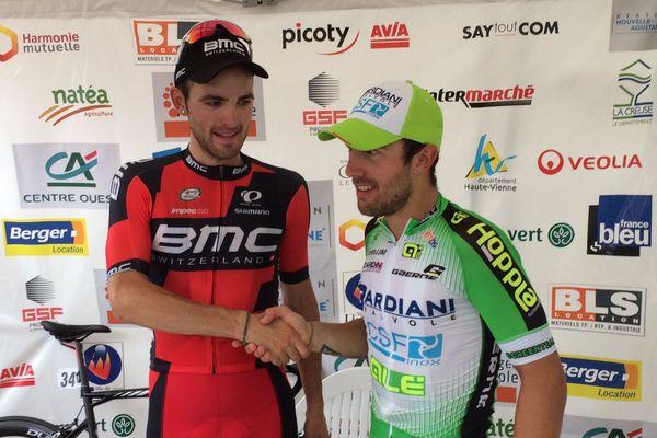 Joseph Rosskopf, vainqueur du Tour du Limousin 2016 (à gauche) et Sonny Colbrelli, vainqueur de la 4ème étape