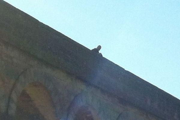 L'homme est assis en haut de l'Aqueduc depuis 13 h 00