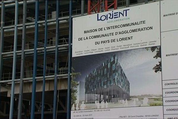 La constrcution de l'hôtel d'agglomération de Lorient est déjà bien entamée