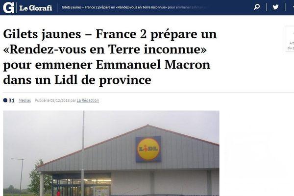 La une du Gorafi sur Emmanuel  Macron à Saint-Germain-le-Fouilloux