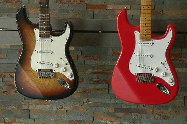Deux modèles de guitare du luthier Tom Marceau