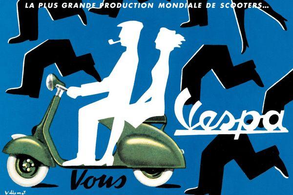 Bernard Villemot, affiche Vespa