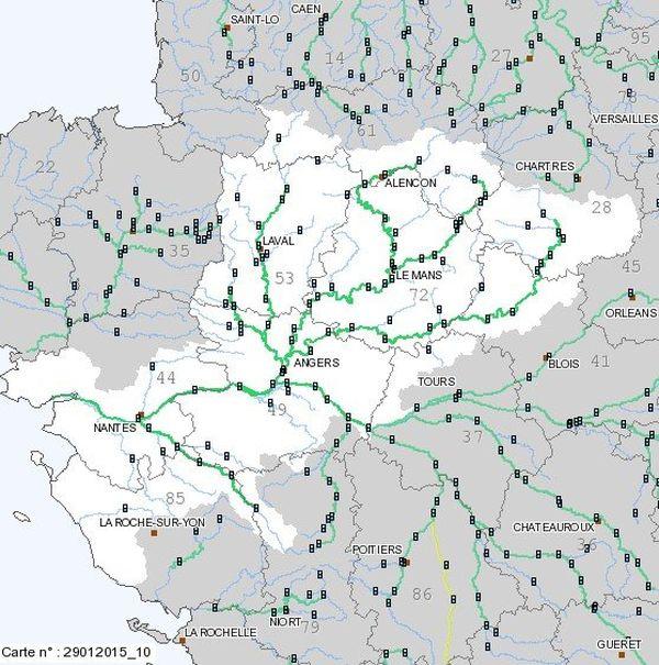 Le réseau de surveillance www.vigicrues.gouv.fr/ le 29 janvier 2015, il y a 20 ans jour pour jour la Maine débordait à Angers et dans les basses vallées angevines
