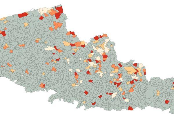 En couleur, les communes du Nord et du Pas-de-Calais ayant enregistré une surmortalité entre le 1er mars et le 19 avril.