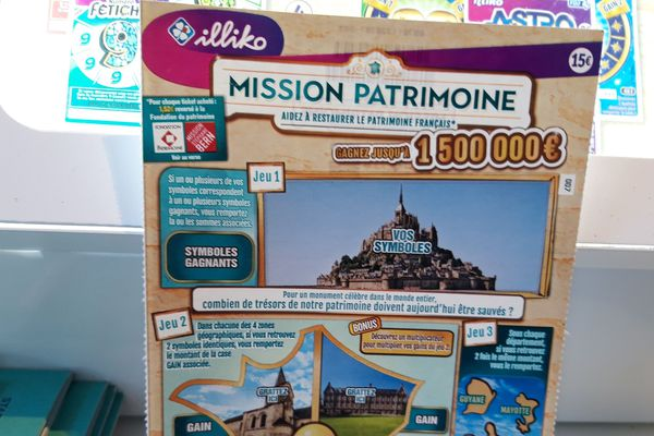 Des tickets à gratter au format XXL sont vendus dans les points habituels pour participer à financer la restauration de certains monuments. 14 sites patrimoniaux ont été retenus en Bretagne, dont Fort Cigogne, dans le Finistère.