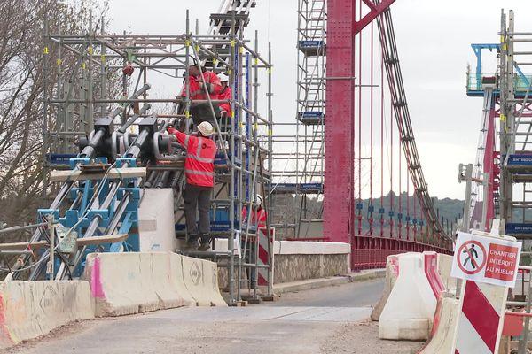 Le pont suspendu de Canet, dans l'Hérault, est fermé à toute circulation - 15 février 2021.
