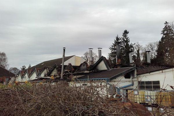 L'entreprise Socotep de Signy-l'Abbaye, après l'incendie du 21 novembre 2016.