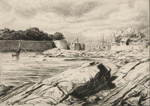 André Dauchez, Les Murs de la Ville-Close, 1928  Eau-fort, .oeuvre proposée aux oeuvres des internautes