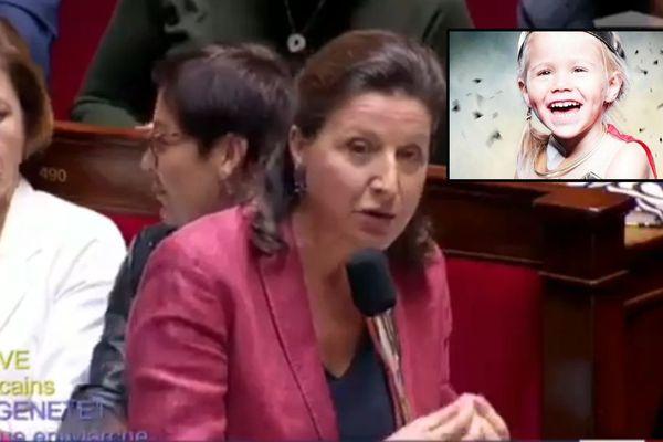 Agnès Buzyn, ministre des Solidarités et de la santé. En médaillon, Augustine, 4 ans