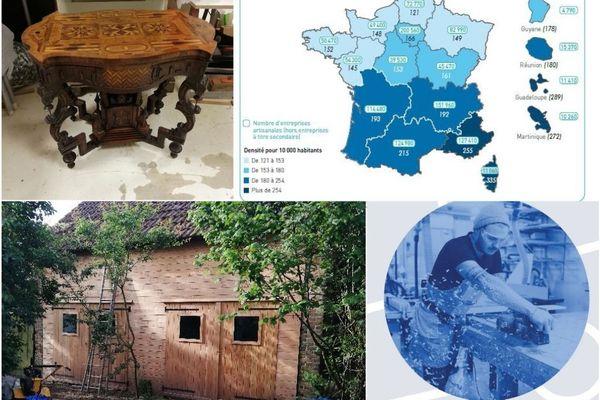 Ci dessus - L'atelier de Laurent Monsigny. Restaurateur de mobilier d'art, il a crée sa toute petite entreprise à Vienne-en-Val (Loiret) en janvier 2019.