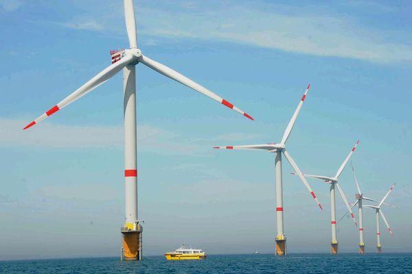 """Parc éolien """"offshore"""" au large d'Ostende (Belgique)."""