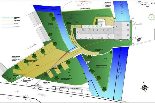 Plan du moulin de Blainville-Crevon (Seine-Maritime).