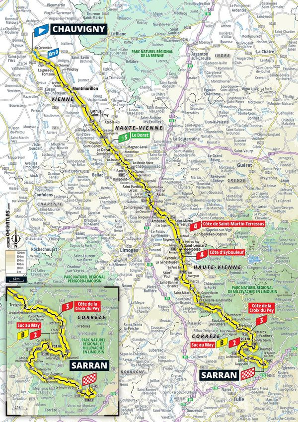 218 km entre Chauvigny et Sarran, c'est la 12e étape du Tour de France 2020